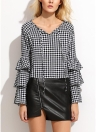 Women Plaid Blouse Top Ruffle Long Sleeves V-Neck Elegant Casual Shirt