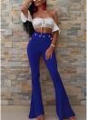 Botón de las mujeres atractivas pantalones de campana de Bodycon de cintura alta acampanada Buttom pierna ancha pantalones casuales ocasionales delgados