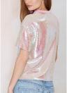 Las mujeres con lentejuelas camiseta O cuello mangas cortas Dropped Shoulder Costume Tees Casual Tops