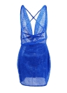 Sexy Frauen Pailletten Glitter Figurbetontes Kleid Sheer Mesh Sleeveless Backless Night Party Dress