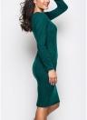 Women Solid Dress Long Sleeve Front Zip Up Elegant Party Pencil Mini Bodycon Dress