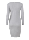 Women Solid Dress Long Sleeve Front Zip Up Elegant Party Pencil Mini Bodycon Dress