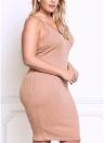 Сексуальные женщины большой размер трикотажные Slip платье V шеи без рукавов твердых Slim Bodycon плюс размер вязание платье