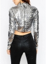 Sexy Frauen Pailletten Crop Top High Neck Langarm Glitzernde Bling Casual Party Top T-Shirt Silber