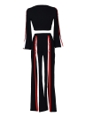 Mode 2 Stück Kleidung Set Frauen Crop Top und Side Split Hosenanzug Damen Sexy Trainingsanzug