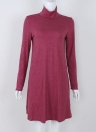 Women T-shirt Dress Solid Color High Neck Long Sleeve A-Line Flare Mini Basic Casual One-Piece