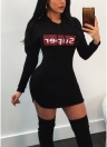 Sexy Women Bodycon Mini Dress Drawstring Hooded Letter Print Long Sleeve Clubwear Hoodie Dress