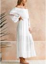 Sexy Frauen Maxi Langes Kleid weg von der Schulter Lace Flare Sleeve elegante Abendgesellschaft Boho Kleid