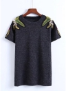 Women T-shirt Leaf Embroidery Short Sleeves O-Neck Casual Pullover Top Blouse