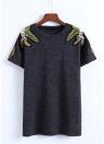 Femmes T-shirt Feuille Broderie Manches Courtes O-cou Décontracté Pull Top Blouse