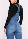 Mujeres de moda de mezclilla overoles rasgados Stretch Dungarees cintura alta pantalones vaqueros largos lápiz pantalones mamelucos mono