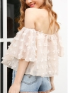 Women Chiffon Off the Shoulder Blouse Top Applique Flare Sleeve Slash Neck Semi-Sheer Loose Short Top