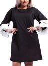 Women Plus Size Loose Dress Solid Flare Meias mangas em camadas Elegant Mini Dresses