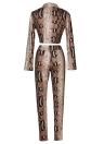 Sexy Donna Set due pezzi Stampa serpente Crop Top Deep V Neck Bandage Long Sleeve Long Pants Slim Bodycon Suit