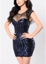 Sexy Women Sequin Bodycon Mini Dress Sheer Mesh Cutout O Neck Sleeveless Clubwear Party Dress