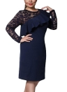 Women Plus Size Dress Lace O-Neck Pencil Party Dress Ladies Ruffle Bodycon Slim Midi Club Vestidos