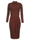 Frauen-Herbst-Winter-Strickjacke strickte Kleid Belted Taillen-dünner elastischer Rollkragen-langes Hülsen-figurbetontes Kleid
