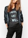 Frauen Pailletten Mantel Bomberjacke Langarm Reißverschluss Streetwear beiläufige lose Glitter Oberbekleidung blau