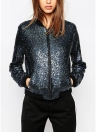 Women Sequin Coat Bomber Jacket Long Sleeve Zipper Streetwear Casual Loose Glitter Outerwear Blue