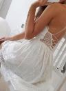 Sexy Femmes Spaghetti Strap Dentelle Mini Robe Profonde V Dos Nu Lace Up Clubwear Robe De Soirée Blanc