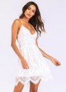 Sexy Women Spaghetti Strap Lace Mini Dress Deep V Backless Lace Up Clubwear Party Dress White