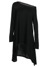 Solid Color One Shoulder High Low Asymmetric Hem Dress
