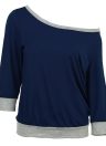 One Shoulder Off Shoulder Contraste Color 3/4 Sleeve Plus Size Tops