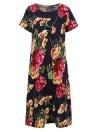 Floral Print O-Neck Short Sleeve Casual Loose Retro Midi Dress