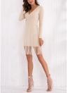 Женщины вязать фигурист платье сетчатый слой с длинными рукавами V шеи A-Line платье высокой талии платье