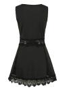 Mini vestido sin mangas de encaje de las mujeres ahueca hacia fuera el vestido elegante delgado del color sólido