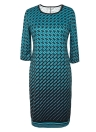 Mulheres Vestido Grande Vestido Houndstooth O-Neck Pencil Party Dress Senhoras Bodycon Slim Casual Vestidos