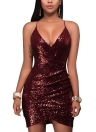 Sexy Femmes Profonde V Cou Sequin Moulante Dress Évider Retour Zip Parti Club Strappy Mini Dress