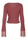 Boho Women Crop Top Stretchy Ribbed V Neck Long Sleeve Tassel T-shirt