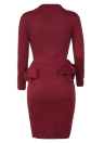 Damen Bleistift Party Kleid Rüschen Langarm Bodycon Midi Club Solid Dress