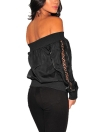 Women Off the Shoulder Satin Jacket Zipper Front Eyelet Hollow Out Coat