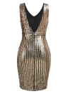 Sexy Women Backless Cut Out Cocktail Mini Sequined Dresses