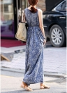 Women Floral Print Dress  Sleeveless Pleated Bohemian Beach Slim Tank Maxi Dress