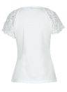 Women Floral Lace Sleeve T-Shirt Self Tie Short Sleeve Basic Tee Tops