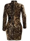 Women Long Sleeves Cut Out Front Turtleneck  Mini Bodycon Sequined Dress