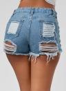 Pantalones cortos deshilachados del dril de algodón de las mujeres atractivas bolsillos calientes del vendaje con cordones de la cintura alta
