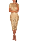 Женщины полые из чистого прозрачного трикотажного платья