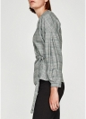 Fashion Women Plaid Checked Cross Front Bandage Slim Blouse