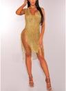 Women Hollow Out Knitted Dress Sleeveless Deep V Neck Sheer Club  Dress