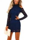 Women Floral Cutout Shoulder Sheath Solid Mini Lace Dress