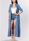 Women Denim Trench Coat Open Front Waterfall Long Sleeve Split Casual Outwear