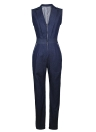 Women Denim Jumpsuit Shawl Lapels Deep-V Zipper High Waist Bodycon Night Partywear