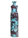 Сексуальные женщины без рукавов Кисточка градиент O-образным вырезом Beach Bodycon Maxi Dress