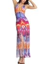 Sexy Women Sleeveless Tassel Gradient O-Neck Beach Bodycon Maxi Dress