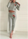 Fashion Women Floral Embroidery Hoodie Long Tracksuit
