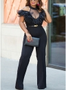 Sexy Femmes Cold Shoulder Ruffle Sheer Mesh Jambes larges Jumpsuit